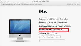 Número de serie y especificaciones en una iMac