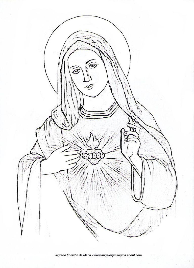 La Virgen Maria Para Colorear
