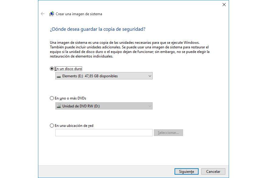 Destino imagen sistema Windows 10