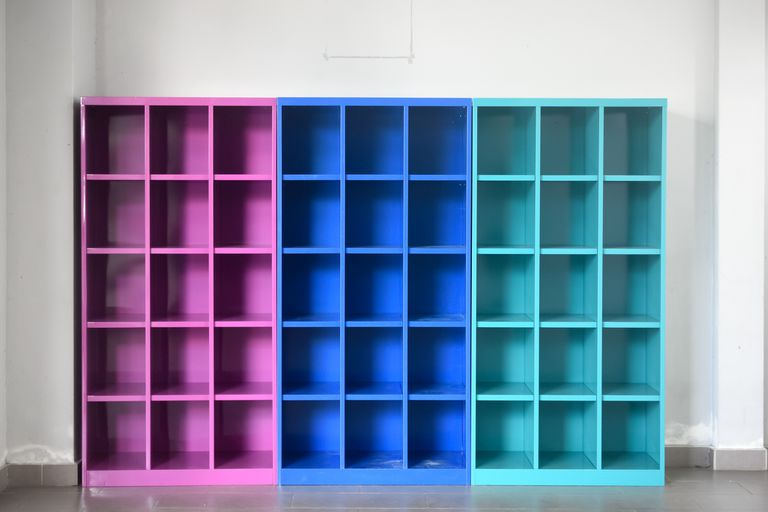 Colorful wooden shelf