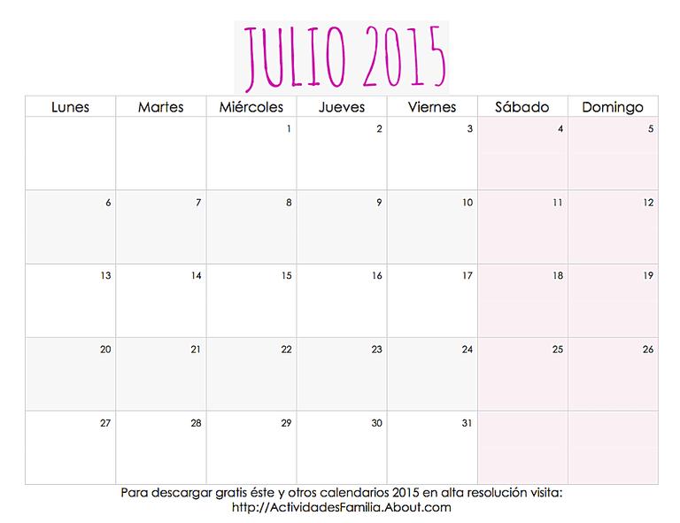 Julio Calendario.Calendario De Celebraciones En Julio 2015