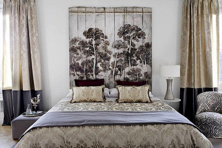 cabecero cama listones pintura decorativa