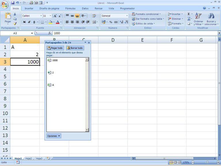 Pegar en Excel hoja de cáclulo