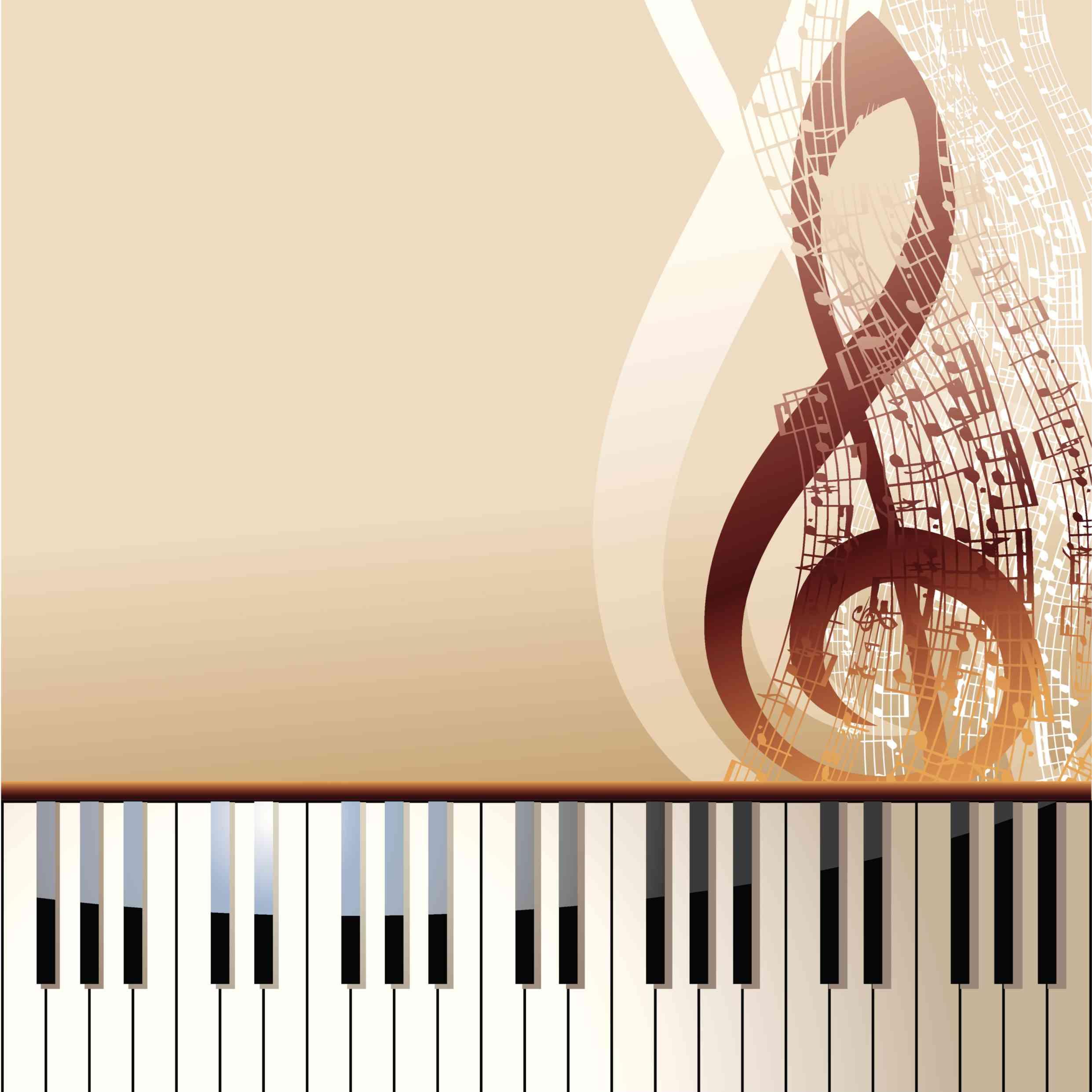 Teclas de piano y nota musical