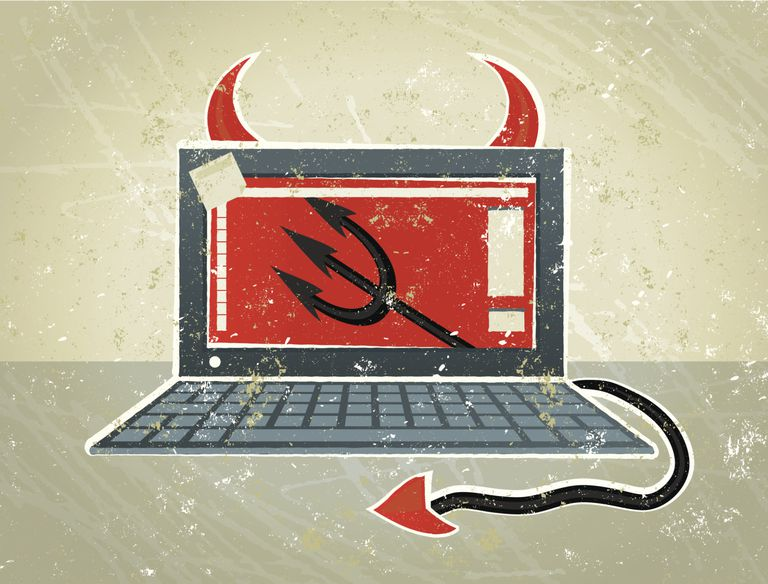 Devil laptop computer with horns and tail