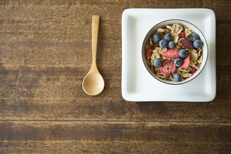 Healthy breakfast cereal with fruit