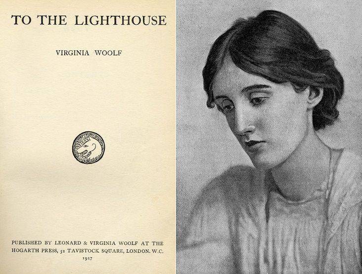 Portada de 'Al Faro' y retrato de Virginia Woolf