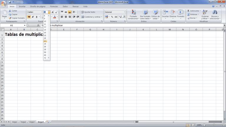 Tablas de multiplicar con Excel