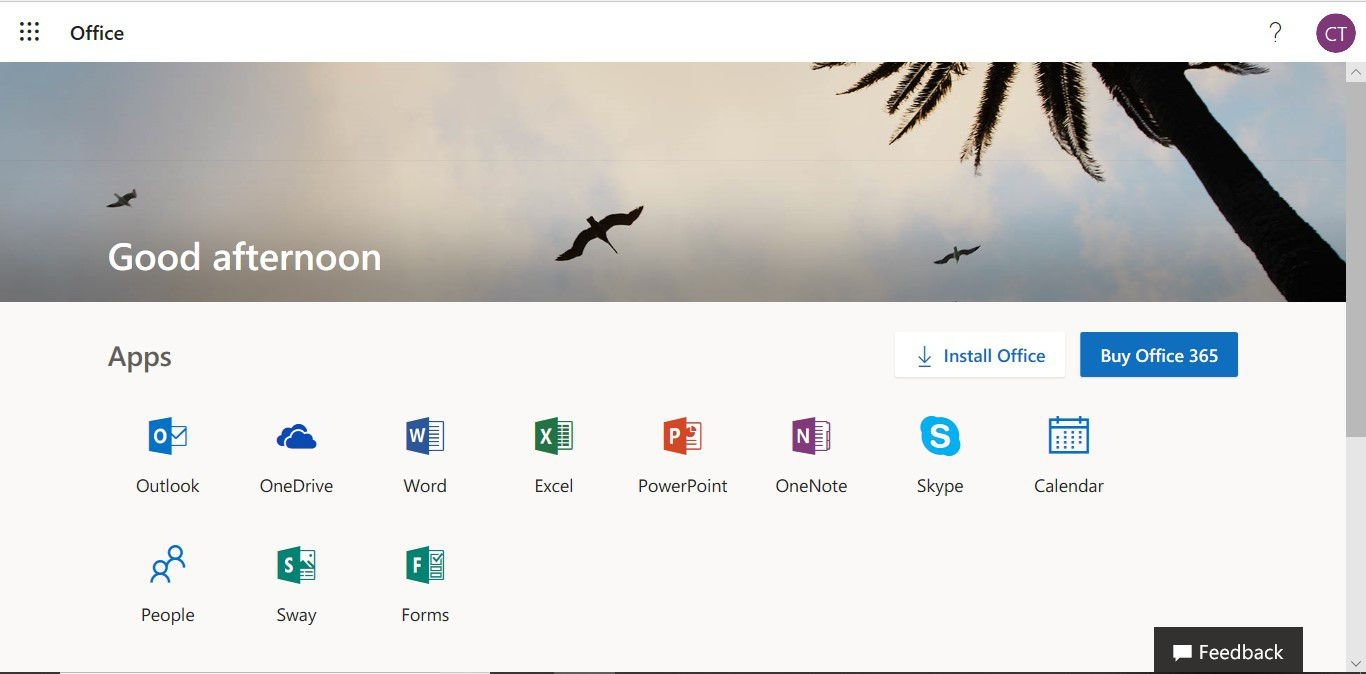 The Office 365 portal page showing the Office Online apps and a link to buy Office 365