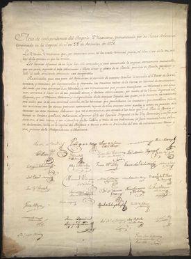 Fotografía del documento original del Acta de Independencia del Imperio Mexicano