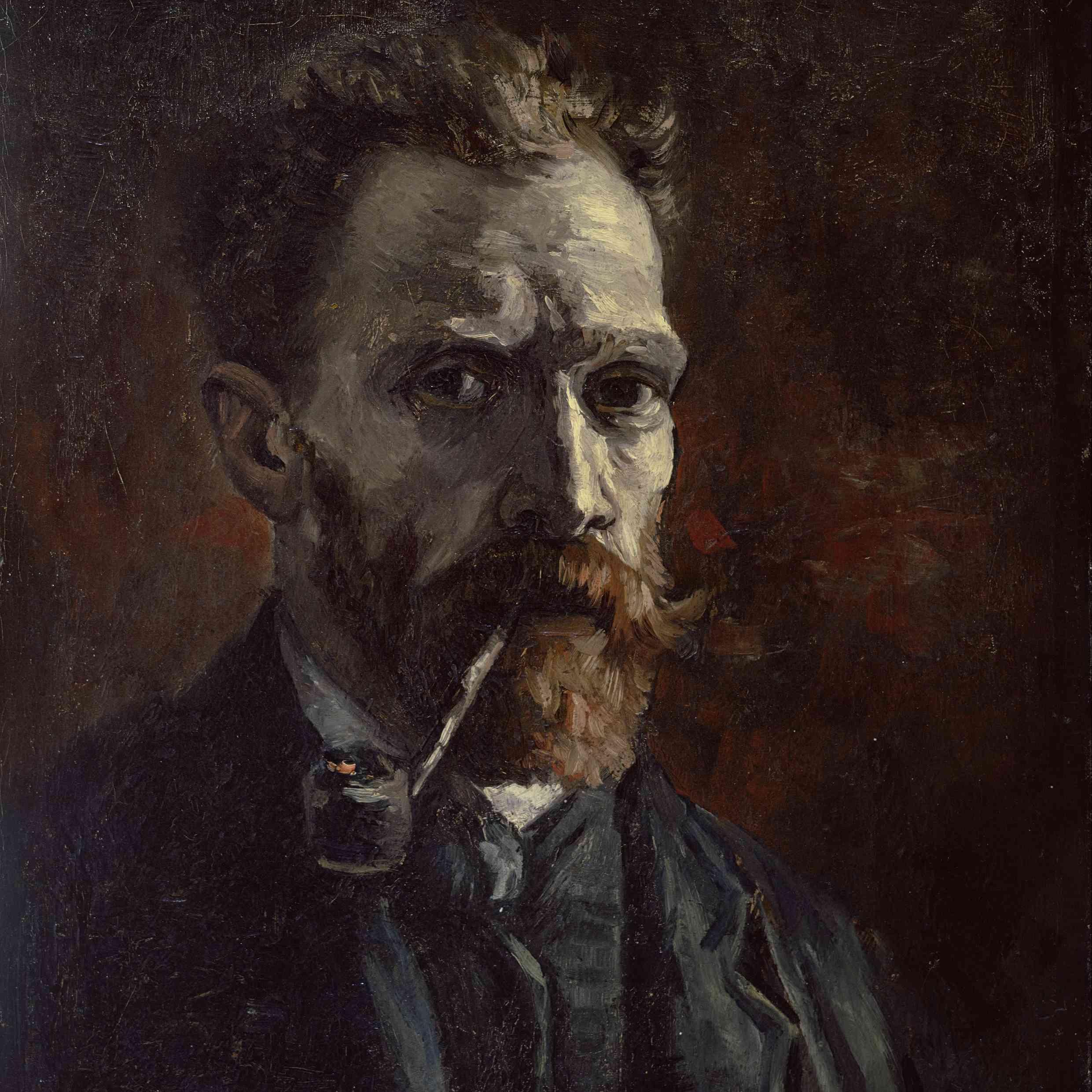 Vincent van Gogh Autorretrato pipa
