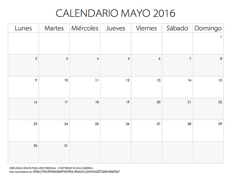 Calendario de Festividades en Mayo 2016