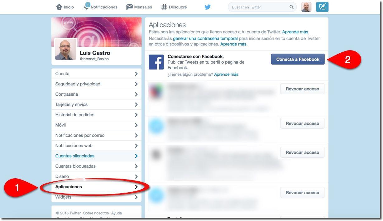 conecta twitter a facebook
