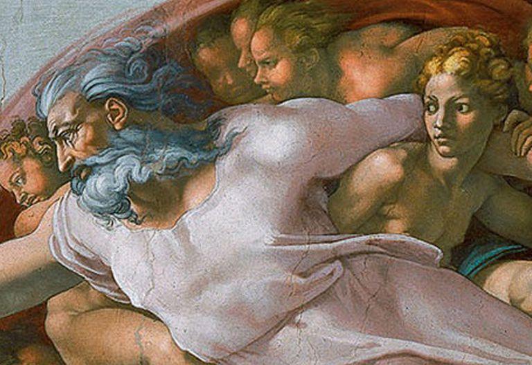 Detalle de La creación del hombre por Miguel Ángel