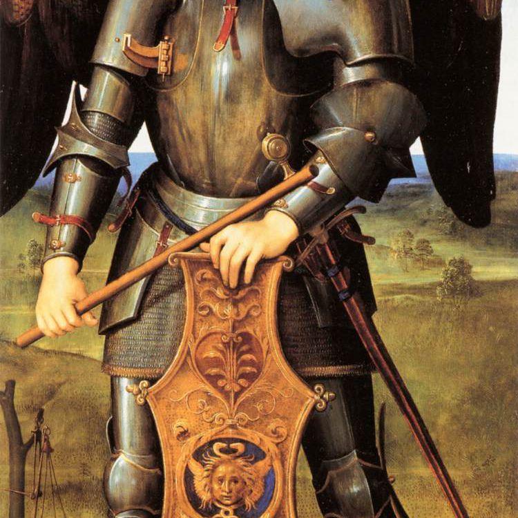 El arcángel Miguel, vestido con armadura, listo para la batalla contra el mal.