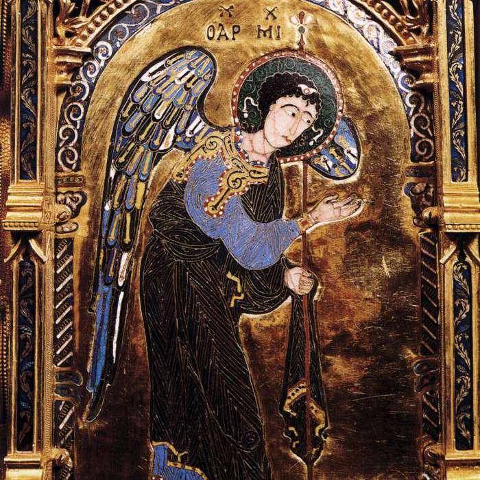 Pintura italiana medieval con incrustaciones de oro