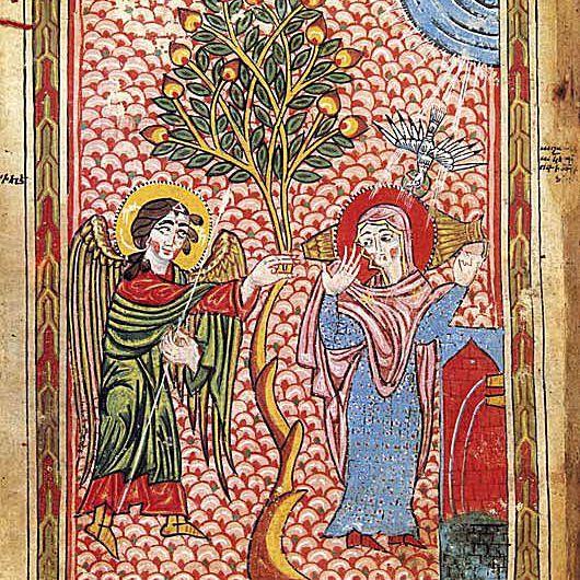 Anunciación en el pozo por Grigor, Siglo 14