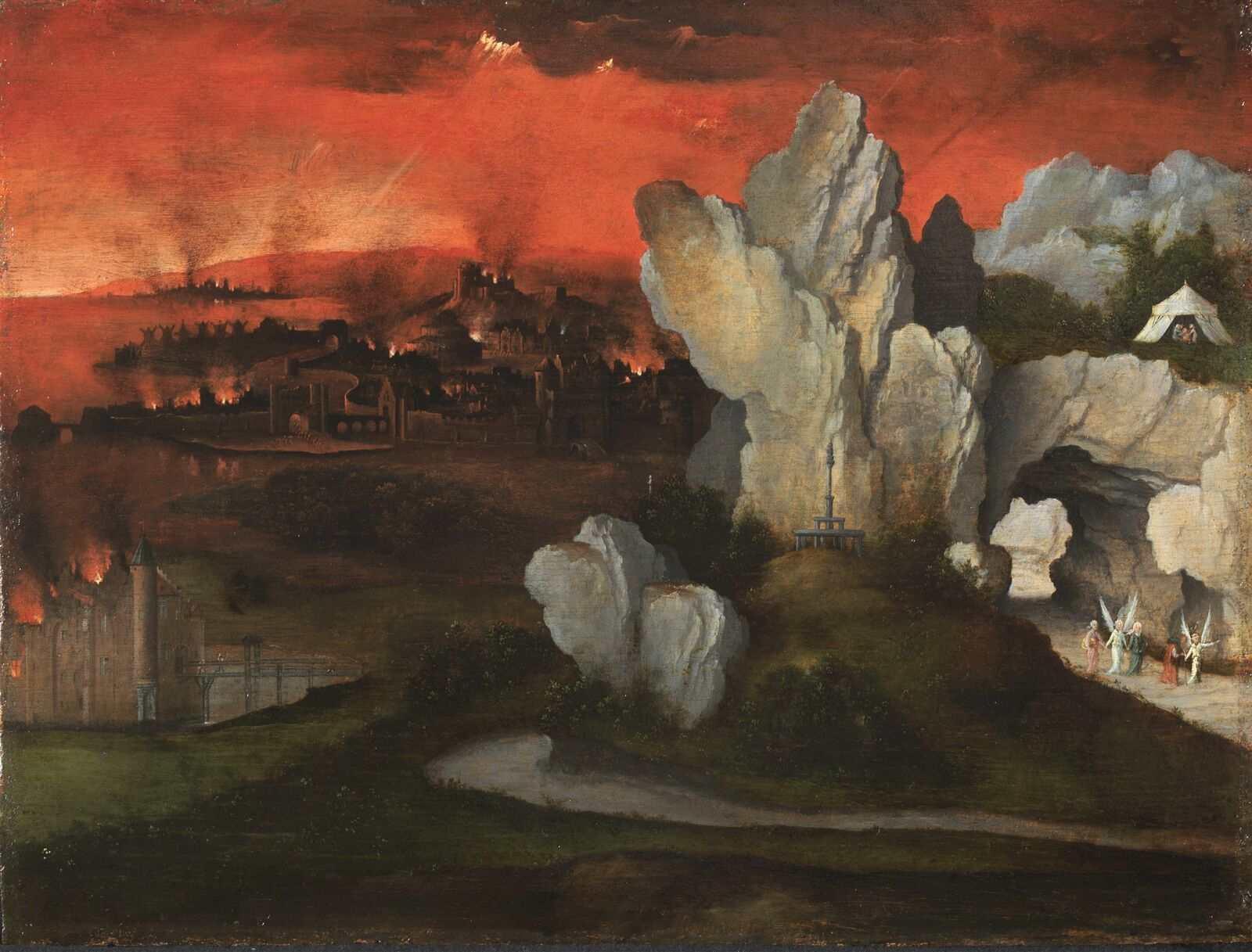Paisaje con la destrucción de Sodoma y Gomorra por Joachim Patinir