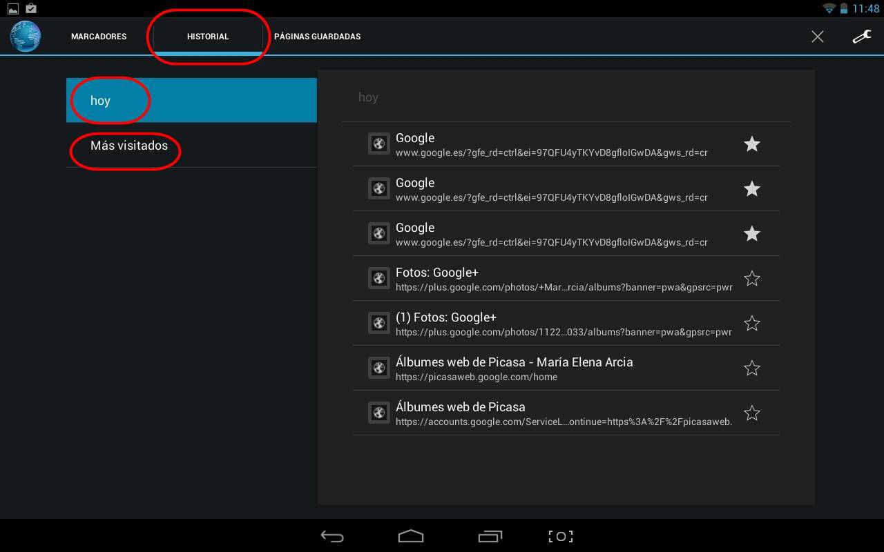 Ver detalles del histoiral en Android