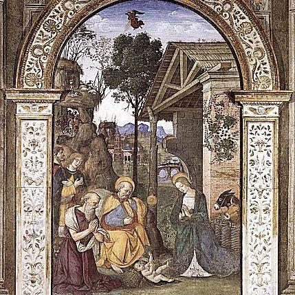 Adoración de los pastores, por Pinturicchio