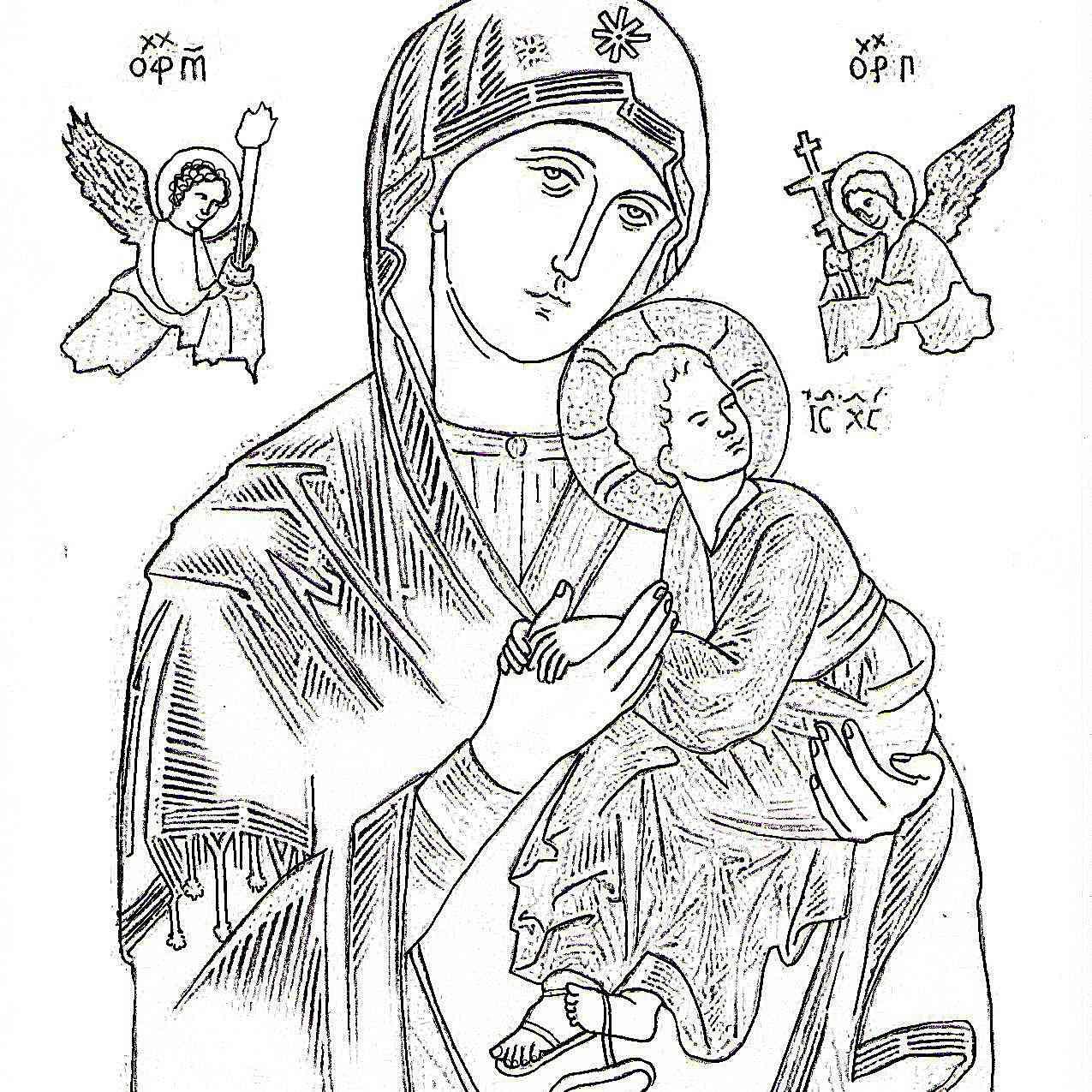 Dibujo de la Virgen del Perpetuo Socorro