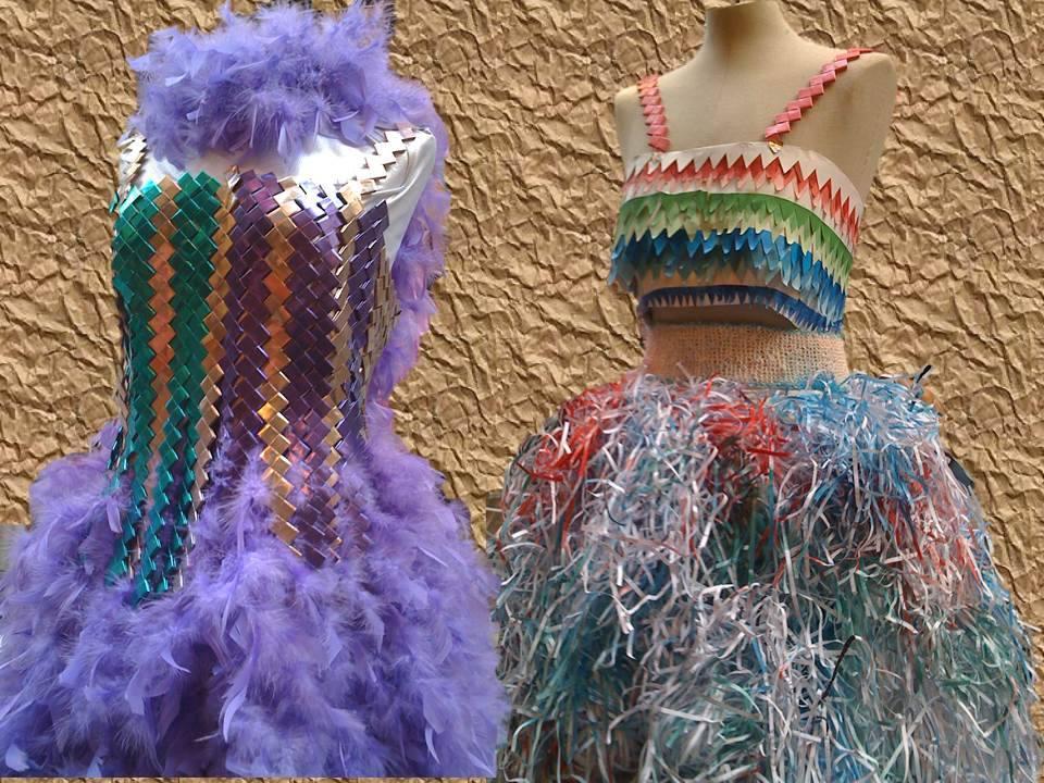 Vestidos con papel de regalo y papel triturado