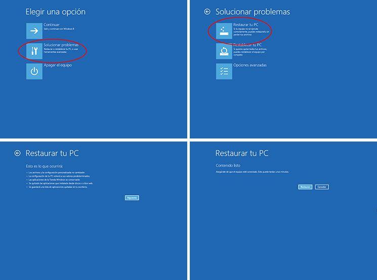 Restaurar PC Windows 8