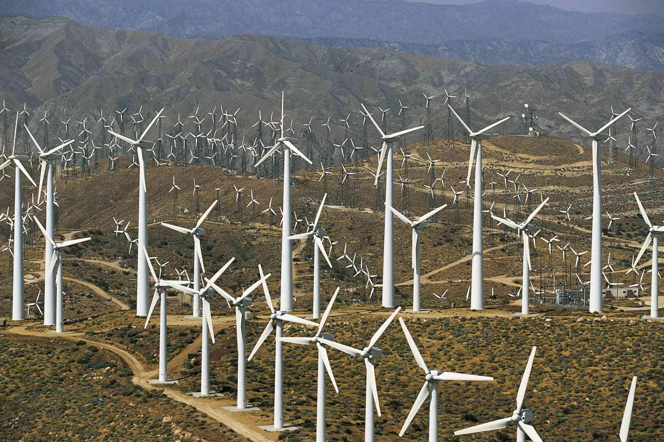Aerogeneradores en el parque eólico de San Gorgonio Pass