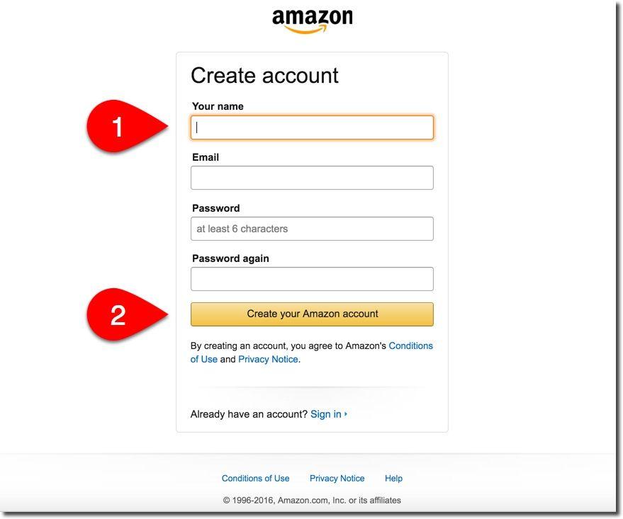 Datos para cuenta de Amazon