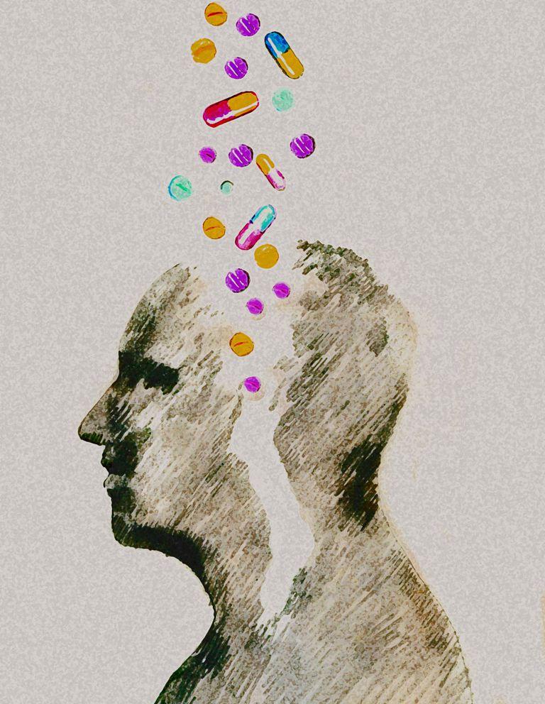 Dibujo de persona con pildoras y pastillas