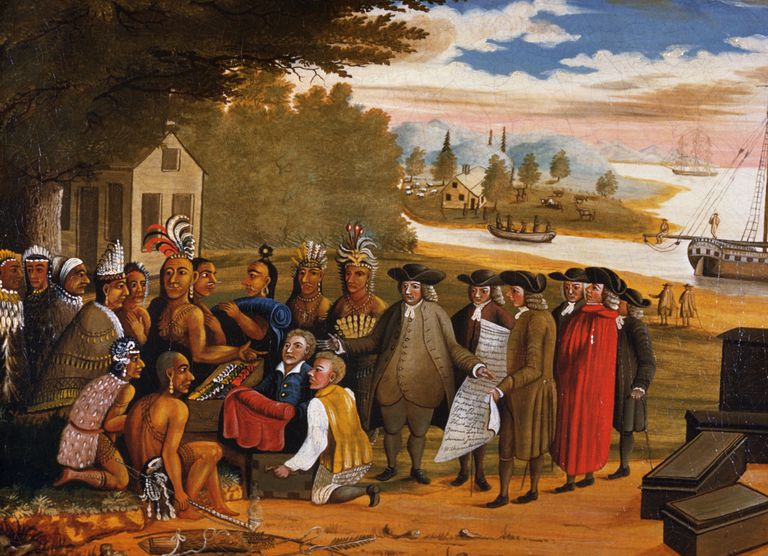 William Penn establece relaciones de amistad con las tribus nativas americanas.