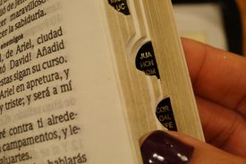 Una mujer está leyendo la biblia. Primer plano de su mano y el libro abierto.