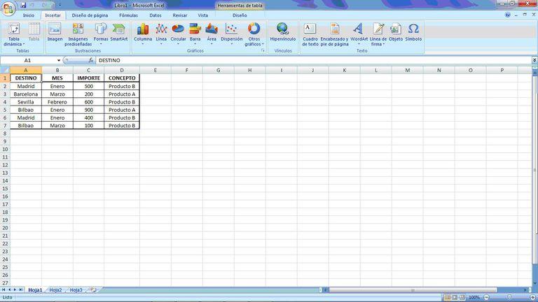 Captura de pantalla Microsoft Excel