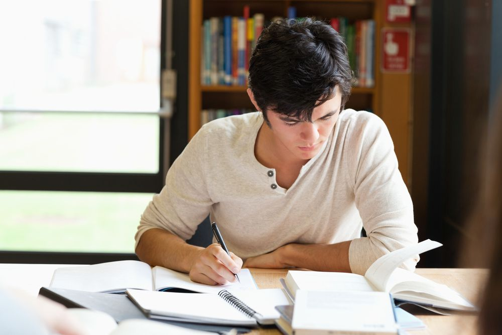 Student Working on an Essay