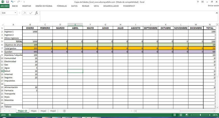 Kakebo en Excel